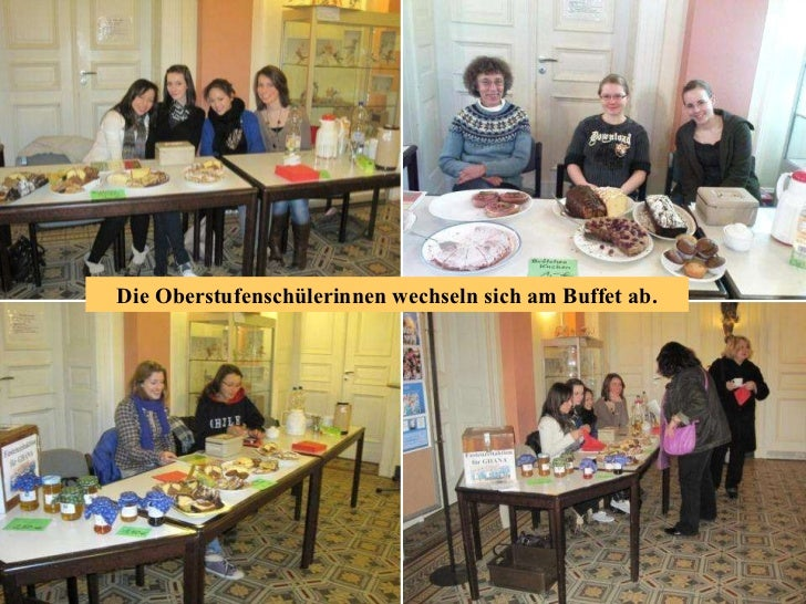 Die Oberstufenschülerinnen wechseln sich am Buffet ab.