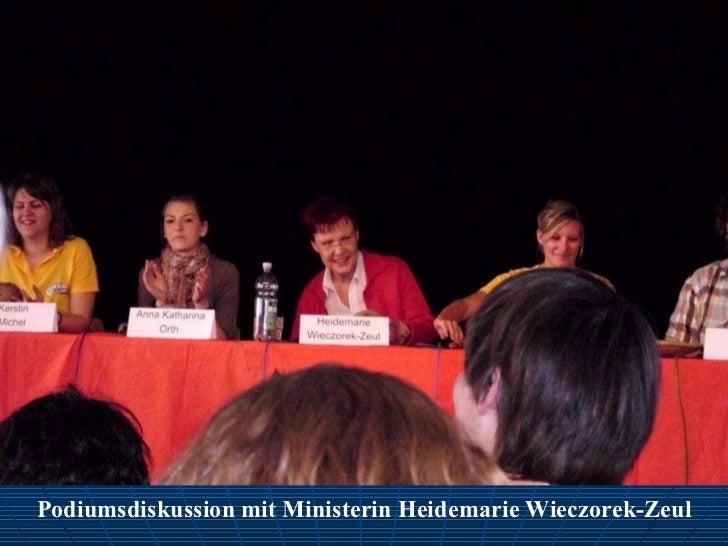 Podiumsdiskussion mit Ministerin Heidemarie Wieczorek-Zeul