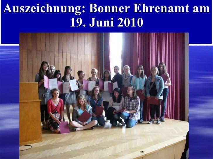 Auszeichnung: Bonner Ehrenamt am 19. Juni 2010