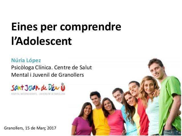Granollers, 15 de Març 2017 Eines per comprendre l'Adolescent Núria López Psicòloga Clínica. Centre de Salut Mental i Juve...