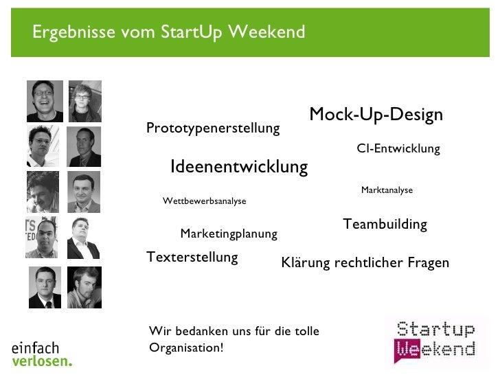 Ergebnisse vom StartUp Weekend Wir bedanken uns für die tolle Organisation! Ideenentwicklung Marktanalyse Wettbewerbsanaly...