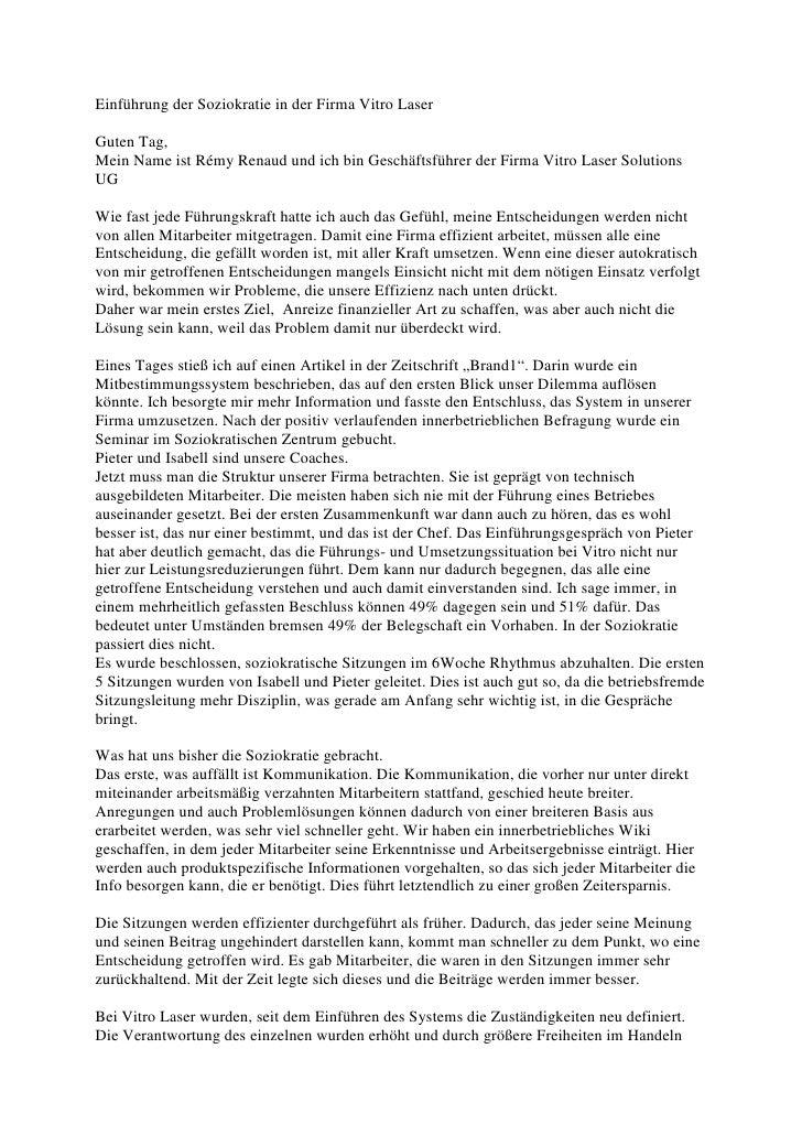 Einführung der Soziokratie in der Firma Vitro LaserGuten Tag,Mein Name ist Rémy Renaud und ich bin Geschäftsführer der Fir...