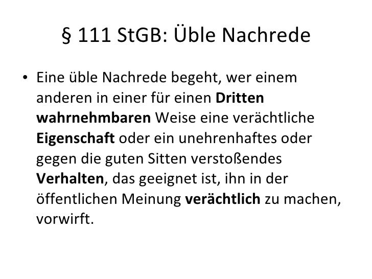 12 111 stgb ble nachrede - Ble Nachrede Beispiele