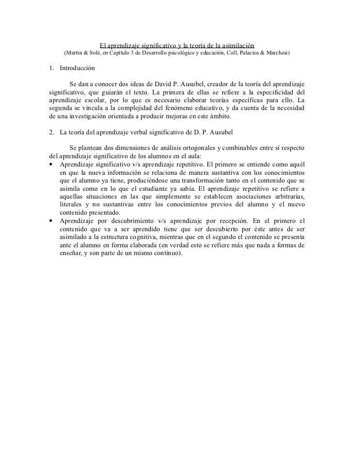 El aprendizaje significativo y la teoría de la asimilación      (Martín & Solé, en Capítulo 3 de Desarrollo psicológico y ...