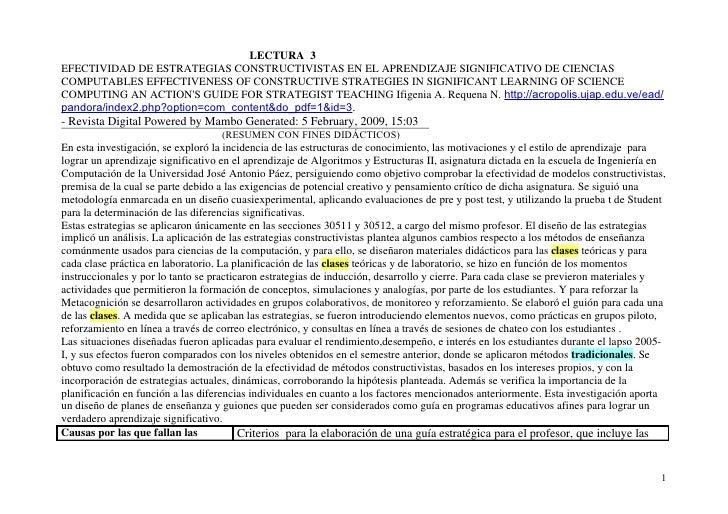 LECTURA 3 EFECTIVIDAD DE ESTRATEGIAS CONSTRUCTIVISTAS EN EL APRENDIZAJE SIGNIFICATIVO DE CIENCIAS COMPUTABLES EFFECTIVENES...