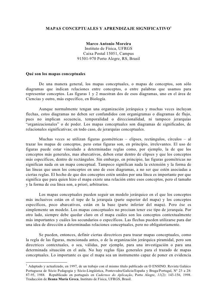MAPAS CONCEPTUALES Y APRENDIZAJE SIGNIFICATIVO1                                       Marco Antonio Moreira               ...