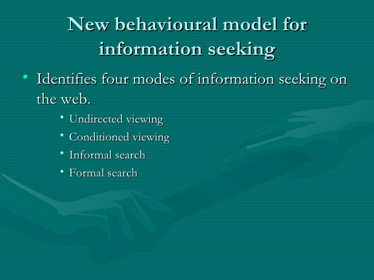 information seeking behaviour Seeking information about one's health is increasingly documented as a key coping strategy in health-promotive activities and psychosocial adjustment to illness in this article, the authors critically examine the scientific literature from 1982 to 2006 on the concept of health information—seeking .
