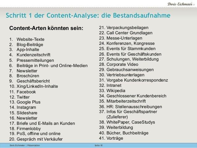 Doris Eichmeier | Präsentation Seite 10 Schritt 1 der Content-Analyse: die Bestandsaufnahme Content-Arten könnten sein: 1....