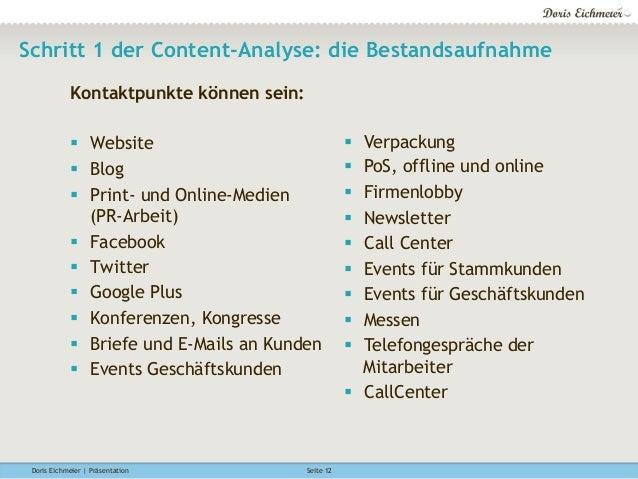 Doris Eichmeier | Präsentation Seite 12 Schritt 1 der Content-Analyse: die Bestandsaufnahme Kontaktpunkte können sein: §...