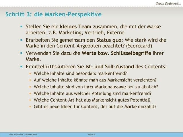 Doris Eichmeier | Präsentation Seite 25 Schritt 3: die Marken-Perspektive § Stellen Sie ein kleines Team zusammen, die m...
