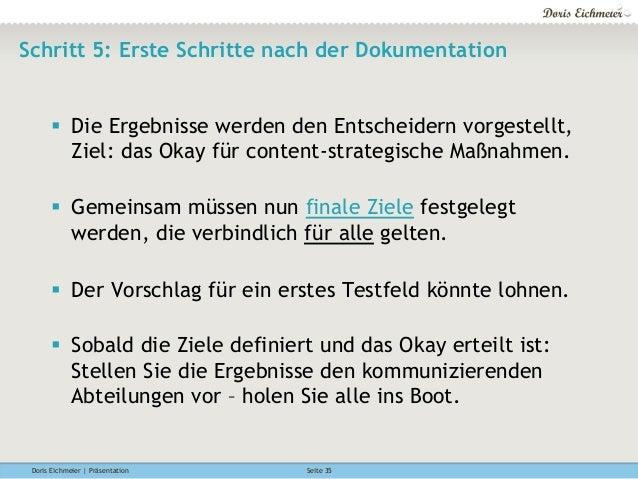 Doris Eichmeier | Präsentation Seite 35 Schritt 5: Erste Schritte nach der Dokumentation § Die Ergebnisse werden den Ent...