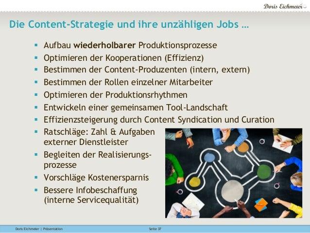 Doris Eichmeier | Präsentation Seite 37 Die Content-Strategie und ihre unzähligen Jobs … § Aufbau wiederholbarer Produkt...