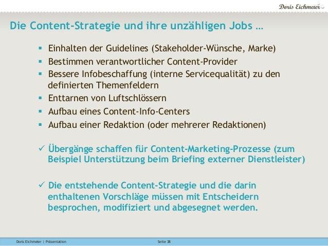 Doris Eichmeier | Präsentation Seite 38 Die Content-Strategie und ihre unzähligen Jobs … § Einhalten der Guidelines (Sta...