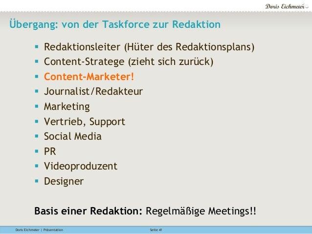 Doris Eichmeier | Präsentation Seite 41 Übergang: von der Taskforce zur Redaktion § Redaktionsleiter (Hüter des Redaktio...