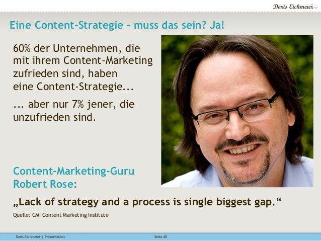 Doris Eichmeier | Präsentation Seite 45 Eine Content-Strategie – muss das sein? Ja! 60% der Unternehmen, die mit ihrem Con...