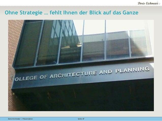 Doris Eichmeier | Präsentation Seite 47 Ohne Strategie … fehlt Ihnen der Blick auf das Ganze