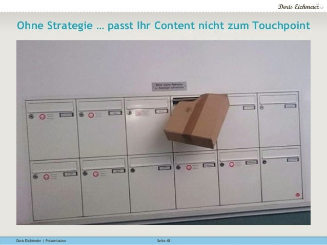 Doris Eichmeier | Präsentation Seite 48 Ohne Strategie … passt Ihr Content nicht zum Touchpoint