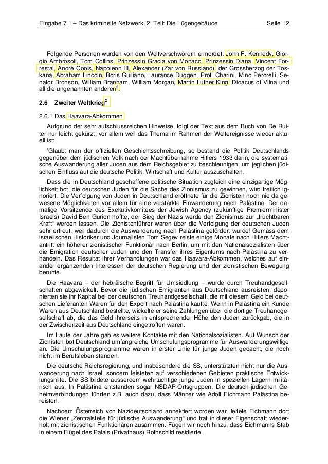 Eingabe 7.1 – Das kriminelle Netzwerk, 2. Teil: Die Lügengebäude                    Seite 12    Folgende Personen wurden v...