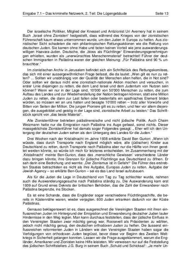 Eingabe 7.1 – Das kriminelle Netzwerk, 2. Teil: Die Lügengebäude                        Seite 13    Der israelische Politi...