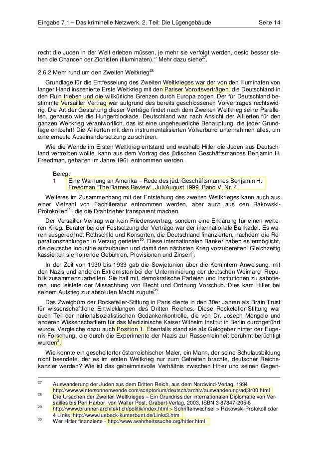 Eingabe 7.1 – Das kriminelle Netzwerk, 2. Teil: Die Lügengebäude                           Seite 14recht die Juden in der ...