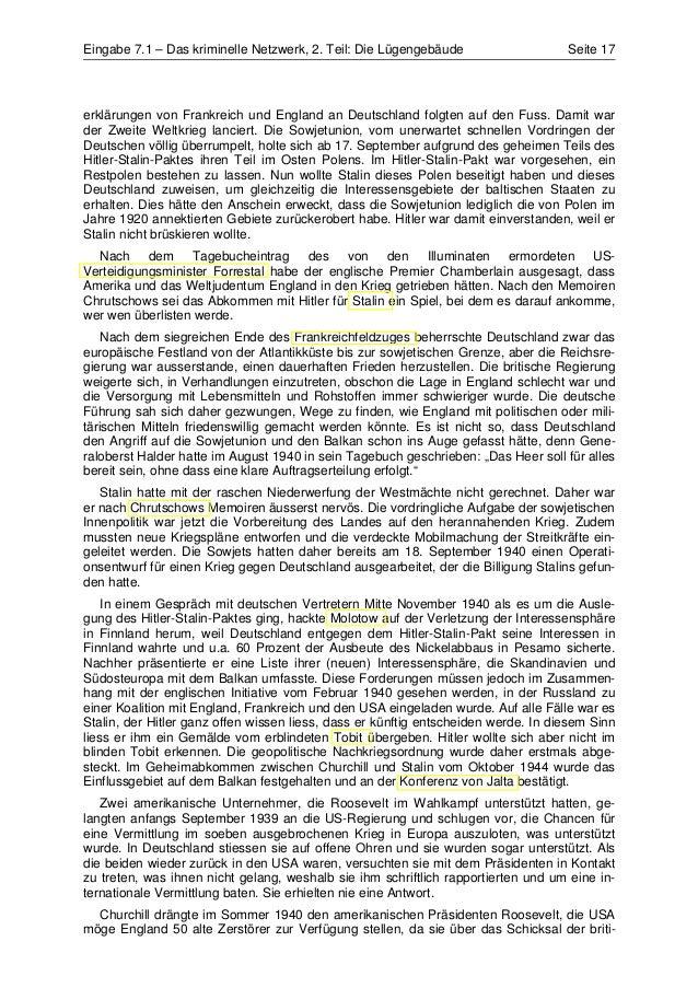 Eingabe 7.1 – Das kriminelle Netzwerk, 2. Teil: Die Lügengebäude                    Seite 17erklärungen von Frankreich und...