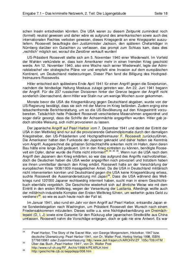 Eingabe 7.1 – Das kriminelle Netzwerk, 2. Teil: Die Lügengebäude                       Seite 18schen Inseln entscheiden kö...