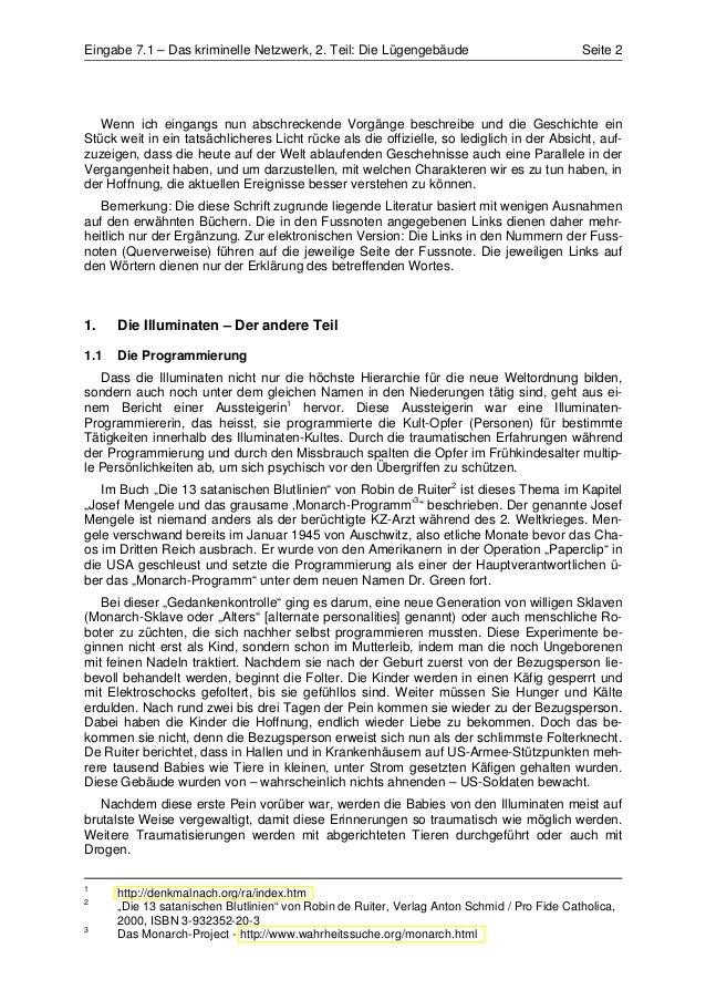 Eingabe 7.1 – Das kriminelle Netzwerk, 2. Teil: Die Lügengebäude                             Seite 2   Wenn ich eingangs n...