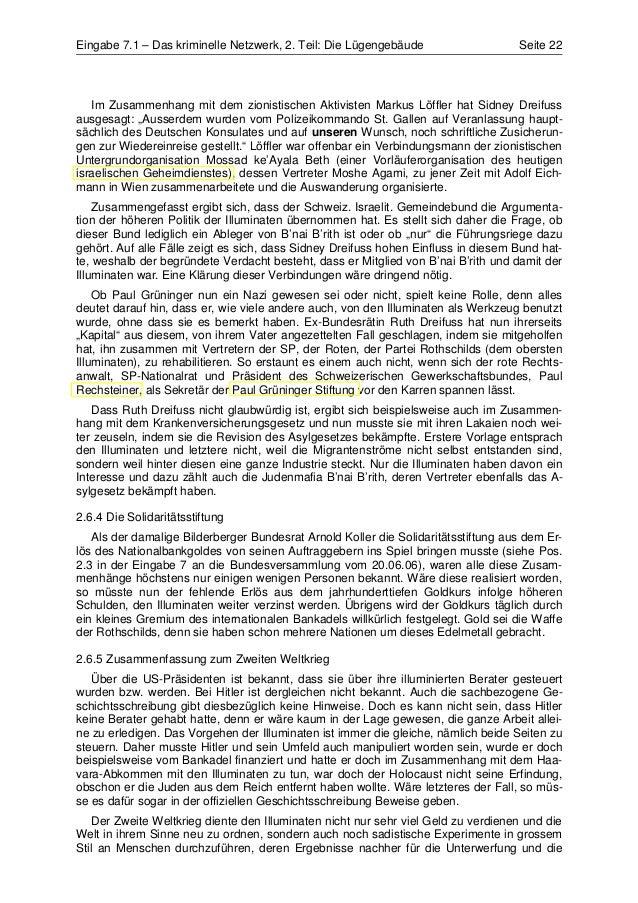 Eingabe 7.1 – Das kriminelle Netzwerk, 2. Teil: Die Lügengebäude                    Seite 22   Im Zusammenhang mit dem zio...