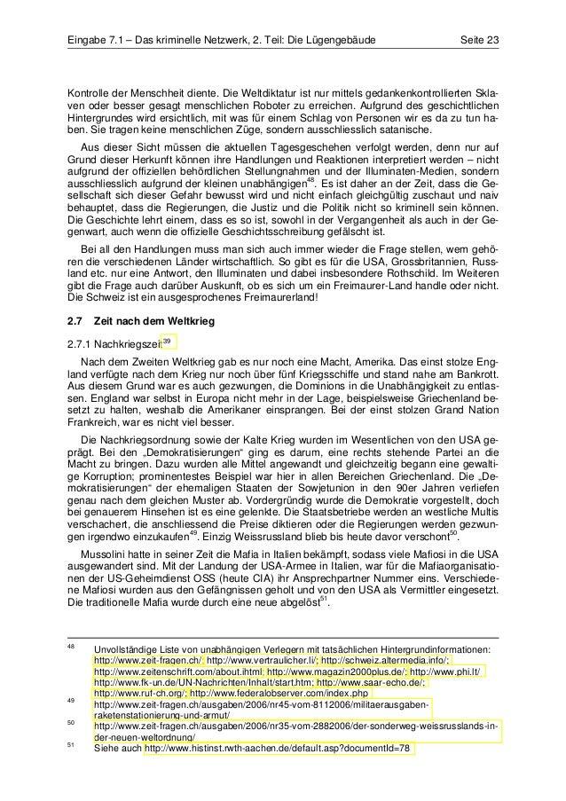 Eingabe 7.1 – Das kriminelle Netzwerk, 2. Teil: Die Lügengebäude                         Seite 23Kontrolle der Menschheit ...