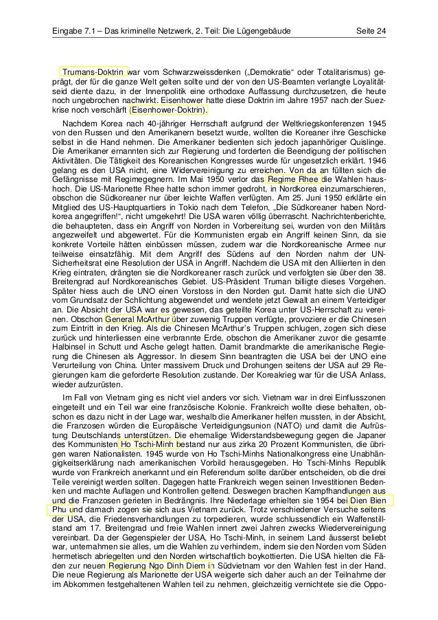 Eingabe 7.1 – Das kriminelle Netzwerk, 2. Teil: Die Lügengebäude                   Seite 24   Trumans-Doktrin war vom Schw...