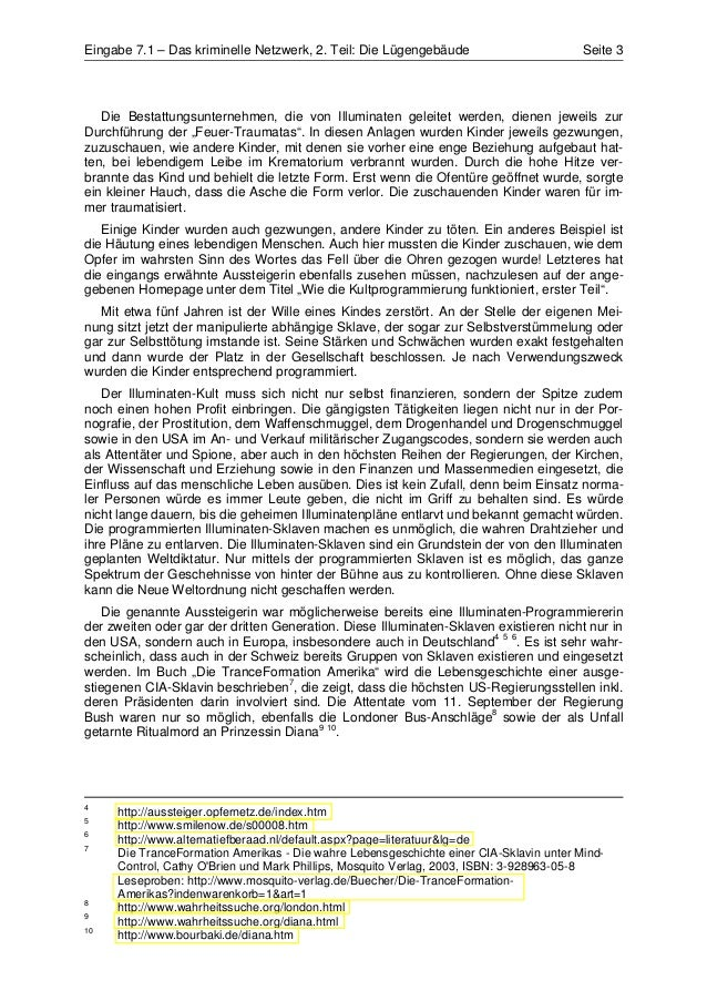 Eingabe 7.1 – Das kriminelle Netzwerk, 2. Teil: Die Lügengebäude                        Seite 3   Die Bestattungsunternehm...