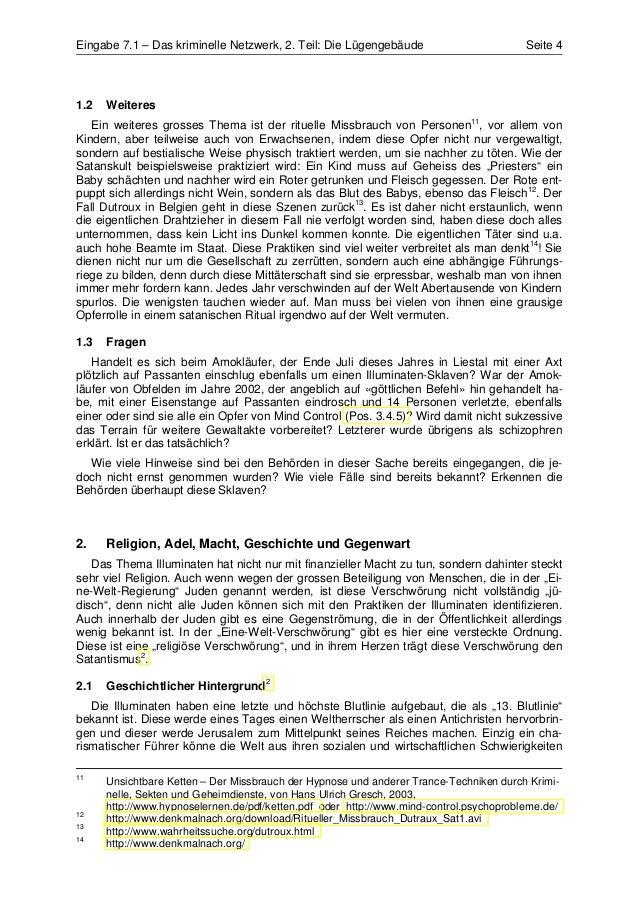 Eingabe 7.1 – Das kriminelle Netzwerk, 2. Teil: Die Lügengebäude                         Seite 41.2   Weiteres   Ein weite...