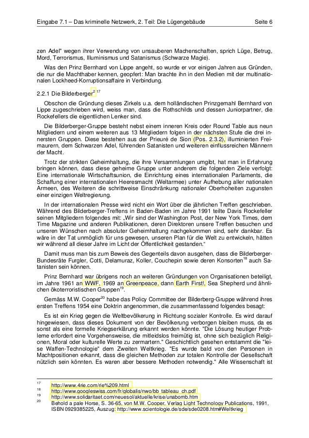 """Eingabe 7.1 – Das kriminelle Netzwerk, 2. Teil: Die Lügengebäude                           Seite 6zen Adel"""" wegen ihrer Ve..."""