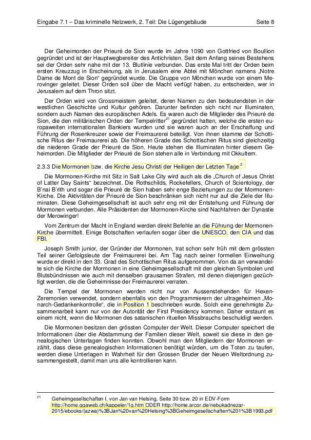Eingabe 7.1 – Das kriminelle Netzwerk, 2. Teil: Die Lügengebäude                      Seite 8   Der Geheimorden der Prieur...