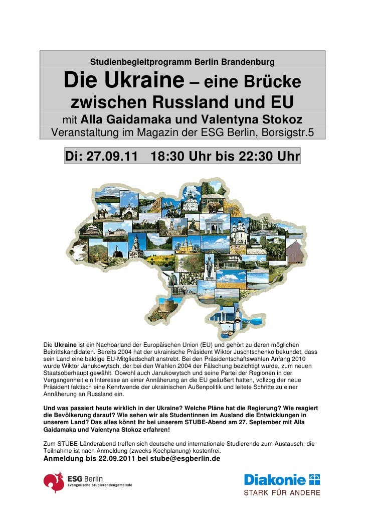 Studienbegleitprogramm Berlin Brandenburg       Die Ukraine – eine Brücke         zwischen Russland und EU    mit Alla Gai...