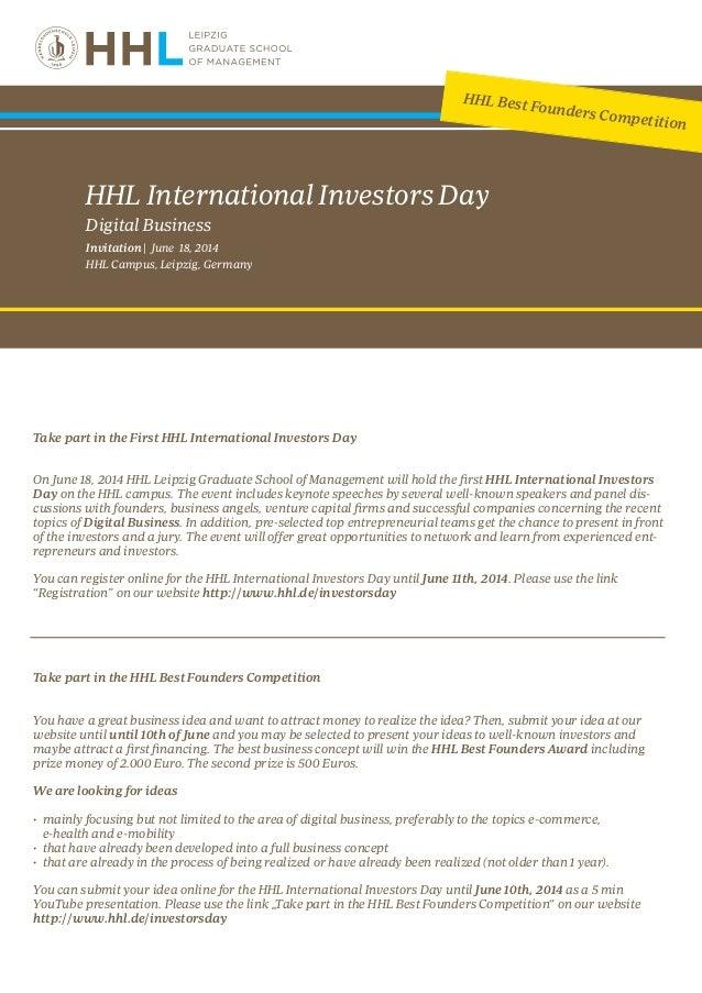 Invitation HHL International Investors Day