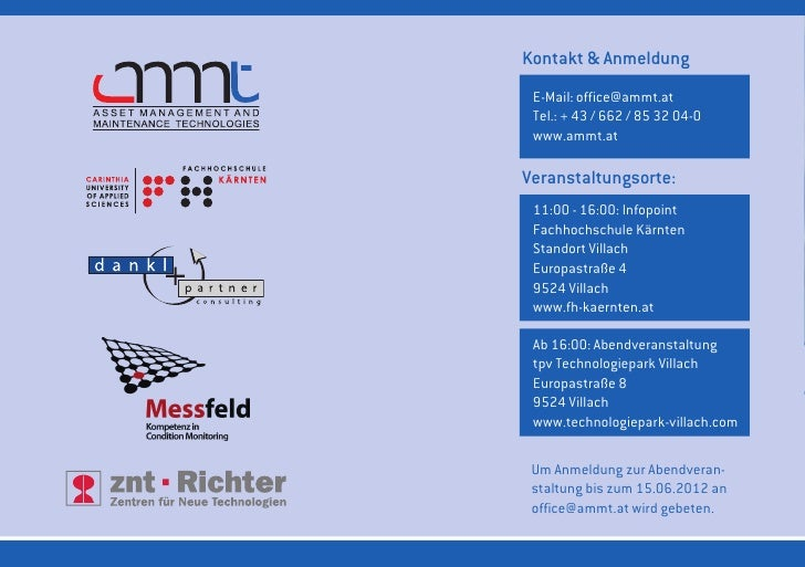 Kontakt & Anmeldung E-Mail: office@ammt.at Tel.: + 43 / 662 / 85 32 04-0 www.ammt.atVeranstaltungsorte: 11:00 - 16:00: Inf...