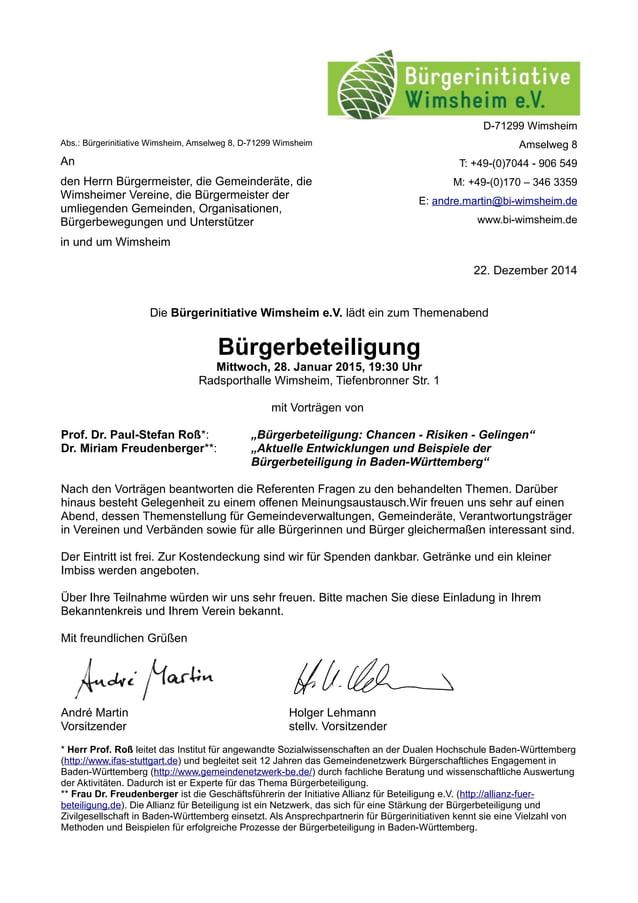 Die Bürgerinitiative Wimsheim e.V. lädt ein zum Themenabend Bürgerbeteiligung Mittwoch, 28. Januar 2015, 19:30 Uhr Radspor...