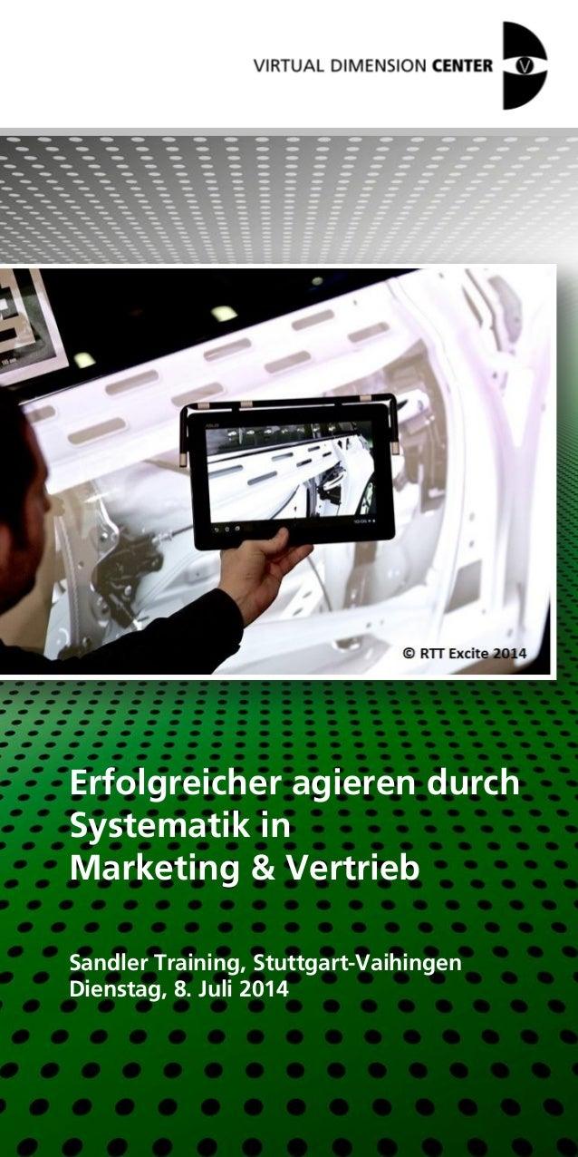 Erfolgreicher agieren durch Systematik in Marketing & Vertrieb Sandler Training, Stuttgart-Vaihingen Dienstag, 8. Juli 2014