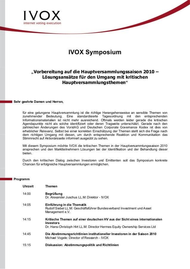 """IVOX Symposium """"Vorbereitung auf die Hauptversammlungssaison 2010 – Lösungsansätze für den Umgang mit kritischen Hauptvers..."""