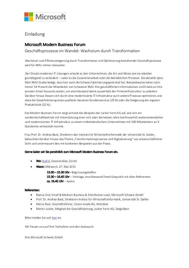 Einladung Microsoft Modern Business Forum Geschäftsprozesse im Wandel: Wachstum durch Transformation Wachstum und Effizien...