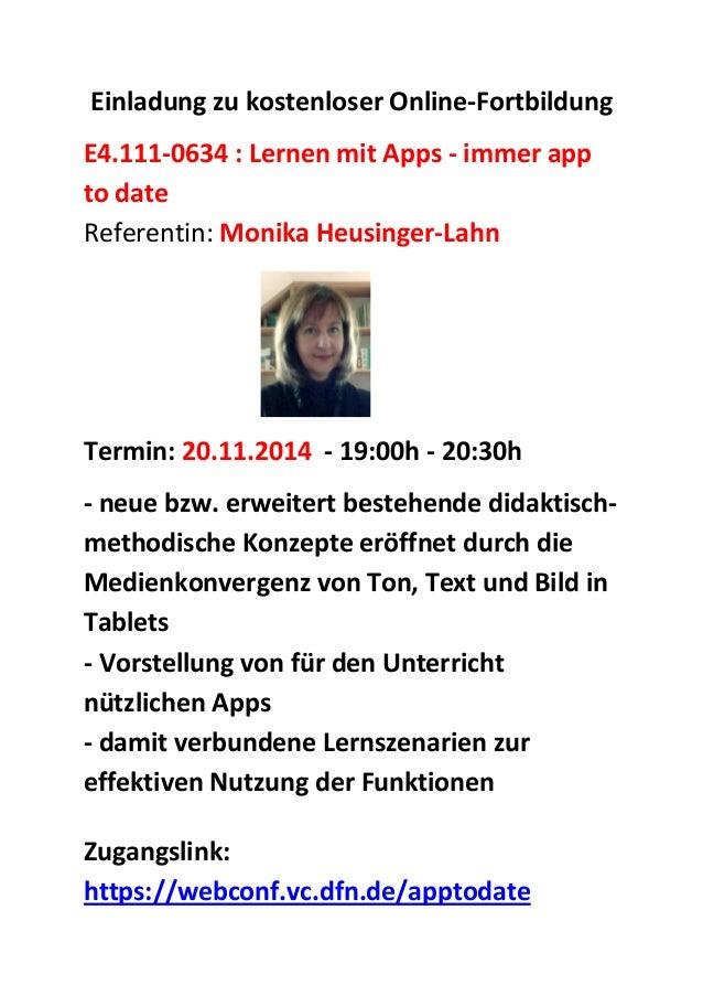 Einladung zu kostenloser Online-Fortbildung E4.111-0634 : Lernen mit Apps - immer app to date Referentin: Monika Heusinger...