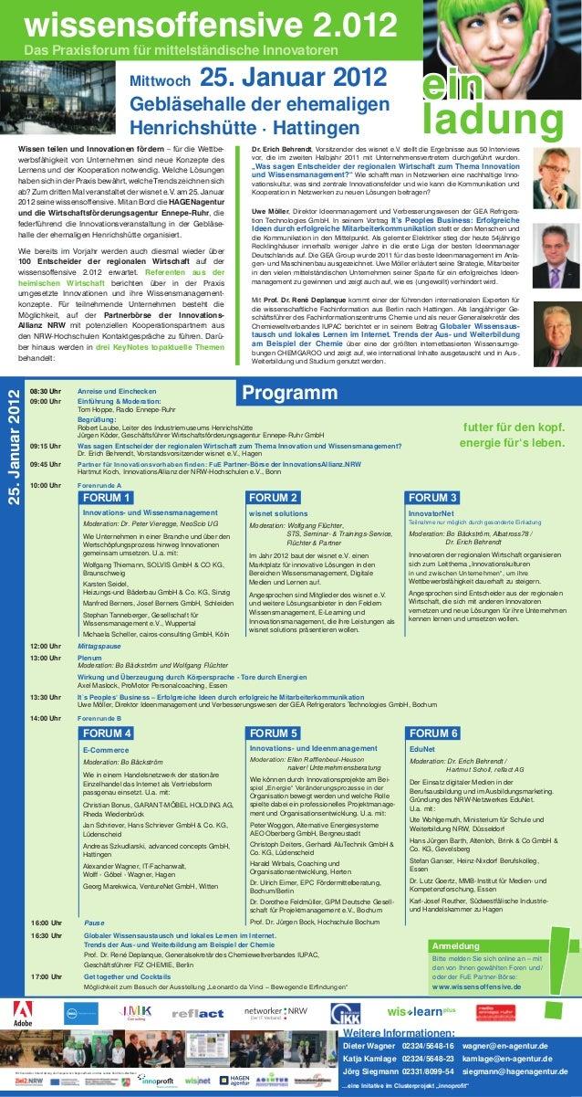 wissensoffensive 2.012                  Das Praxisforum für mittelständische Innovatoren                                  ...