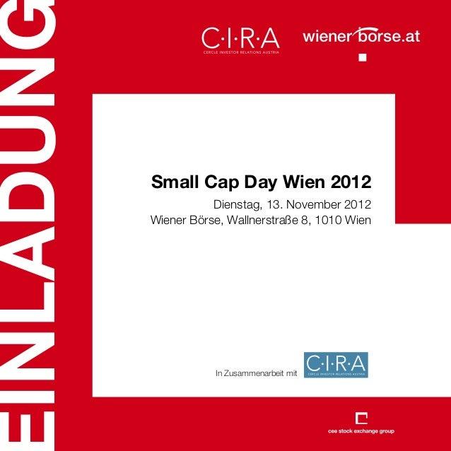 INLADUN          Small Cap Day Wien 2012                     Dienstag, 13. November 2012          Wiener Börse, Wallnerstr...