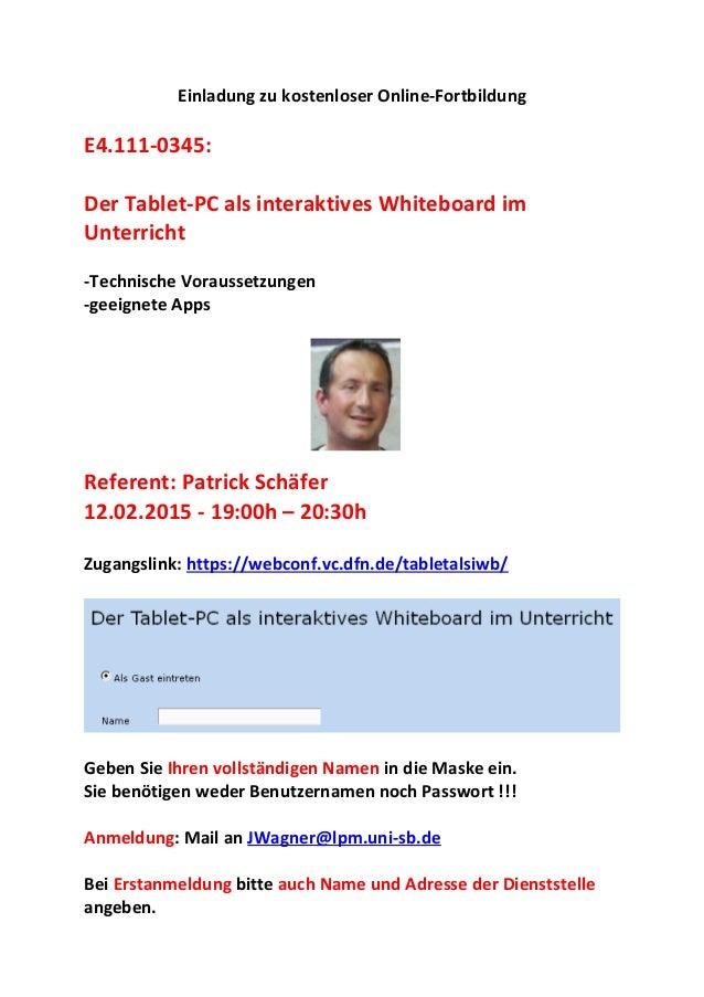 Einladung zu kostenloser Online-Fortbildung E4.111-0345: Der Tablet-PC als interaktives Whiteboard im Unterricht -Technisc...