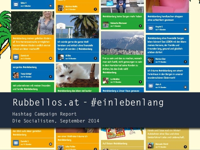 Rubbellos.at - #einlebenlang  Hashtag Campaign Report  Die Socialisten, September 2014