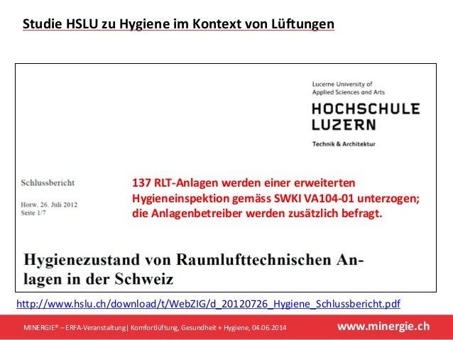 www.minergie.ch http://www.hslu.ch/download/t/WebZIG/d_20120726_Hygiene_Schlussbericht.pdf MINERGIE® – ERFA-Veranstaltung ...