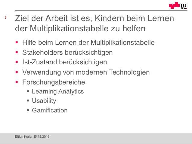 Die Multiplikationstabelle als innovative Learning-Analytics-Applikation Slide 3