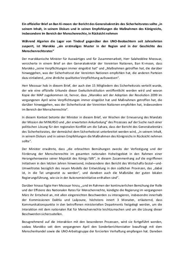 """Ein offizieller Brief an Ban Ki-moon: der Bericht des Generalsekretärs des Sicherheitsrates sollte """"in seinem Inhalt, in s..."""