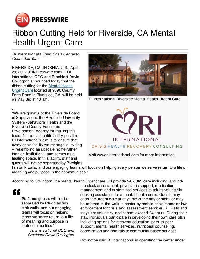 Ein Presswire 378390846 Ribbon Cutting Held For Riverside Ca Mental H